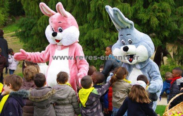 Mascottes lapin rose ou bleu