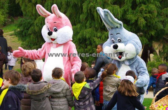 location Mascottes lapin rose ou bleu ile de france